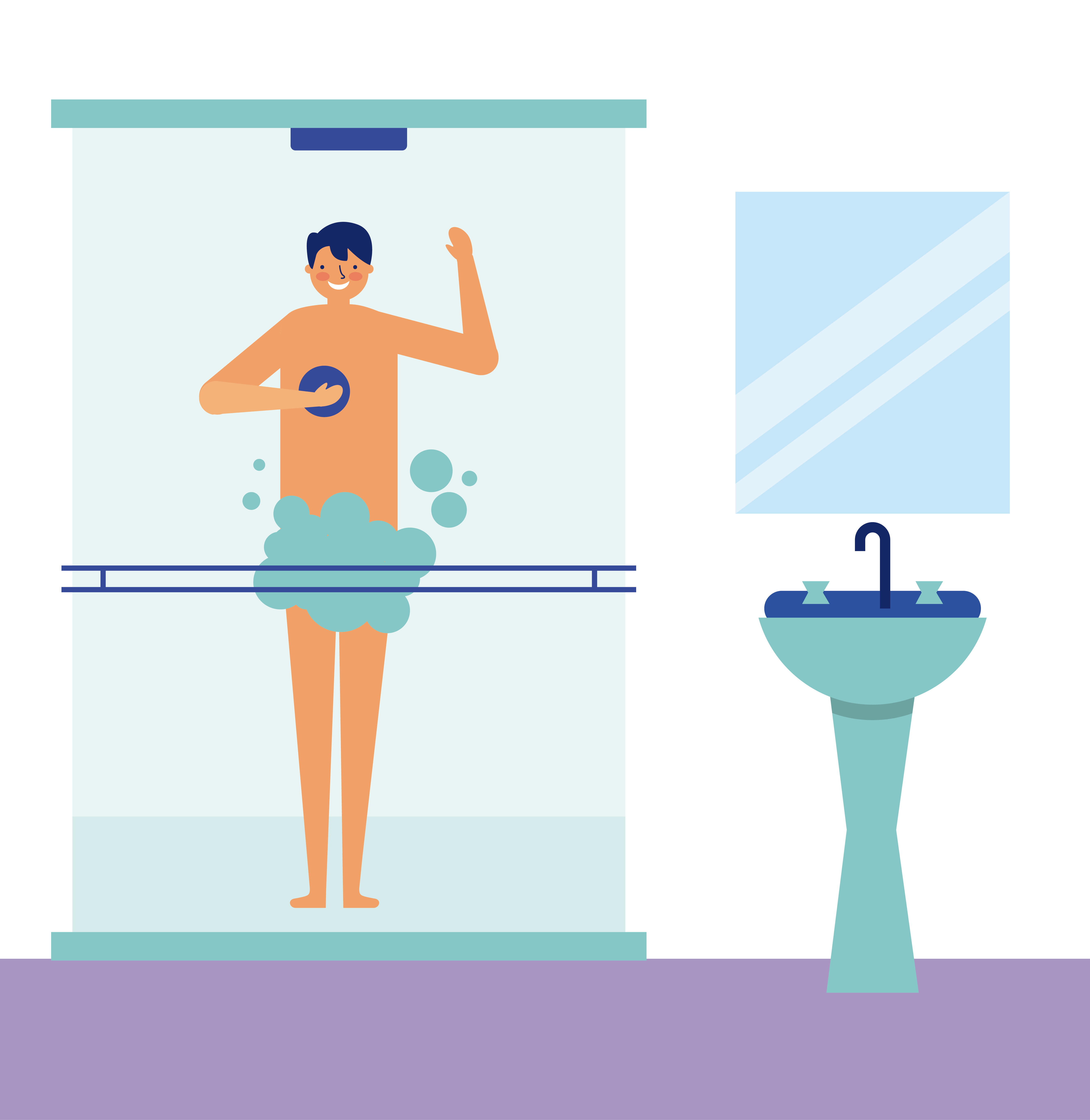 daily activity man taking a shower